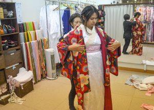 Kimono Hire Osaka, JR Japan Rail Pass Travel in Winter February Snow