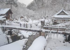Hotel Views of Osenkaku Ryokan Takaragawa Onsen in Winter Snow
