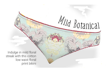 Low-waist, cotton panty with floral streak