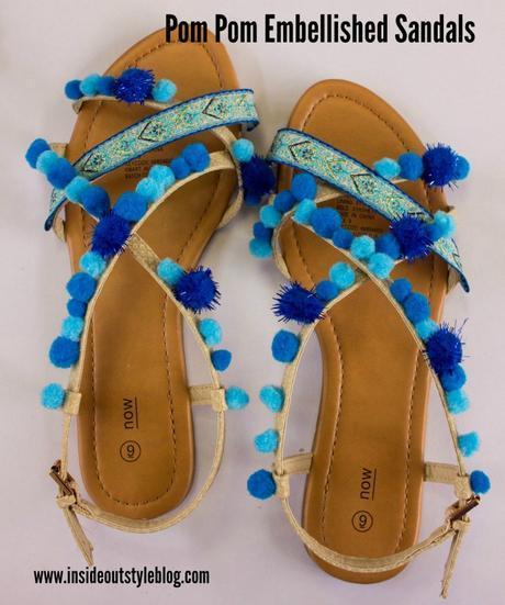 How to make fun embellished pom pom sandals DIY instructions - www.insideoutstyleblog.com