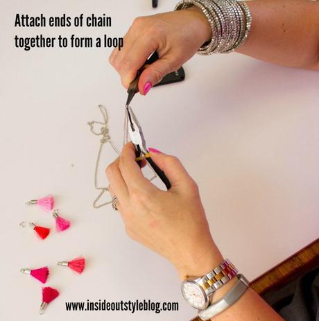 Easy make it yourself instructions for a pom pom and tassel necklace - www.insideoutstyleblog.com