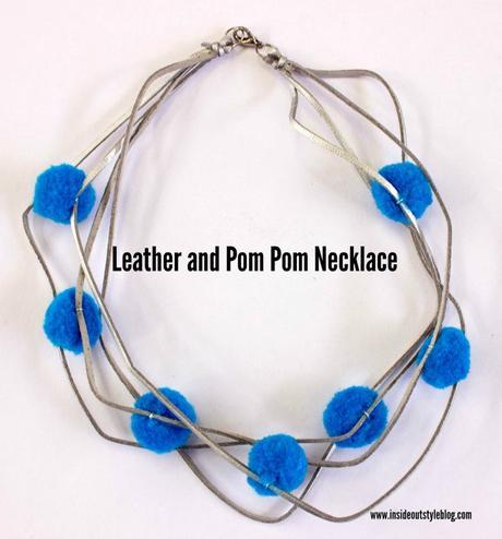 How to makea simple leather and pom pom necklace - DIY instructions - www.insideoutstyleblog.com