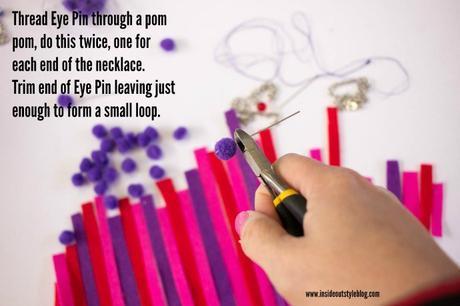 How to make an easy felt and pom pom necklace - www.insideoutstyleblog.com