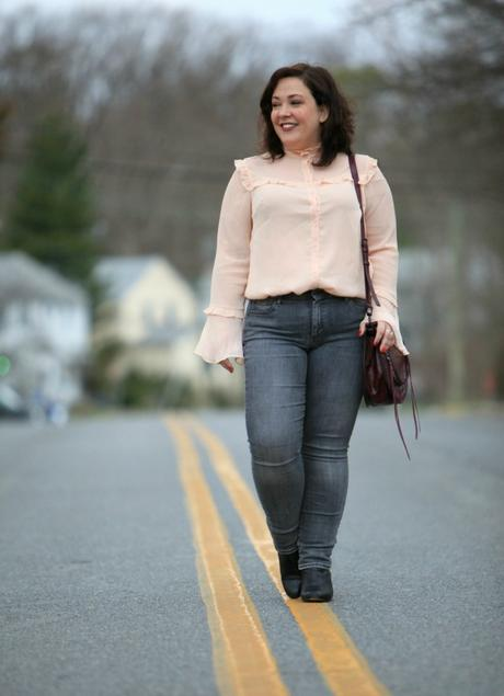 What I Wore: Peach and Grey