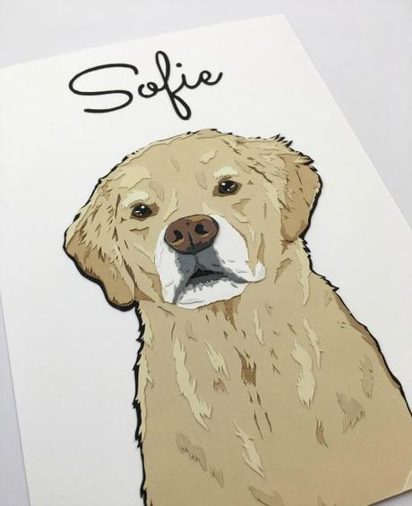 Custom Paper Pet Portrait - Grey Face Golden