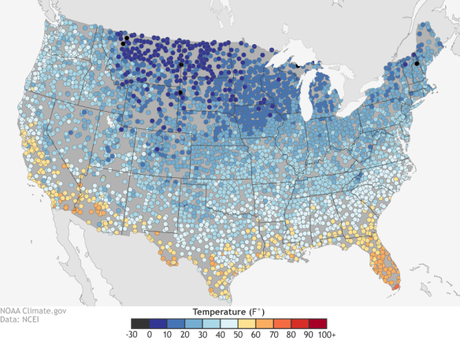 U.S. spring extremes: coldest and warmest first days of spring