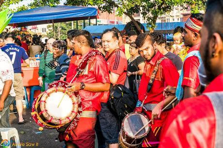 Drum core final practice before leading worshipers to Batu Caves.