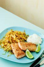 Sesame Salmon with Thai Curry Cabbage and Lime Mayo
