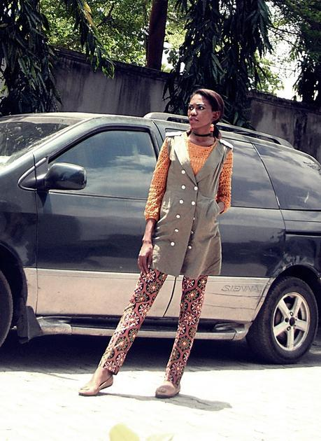 Olive Military Vest and Ankara Pants
