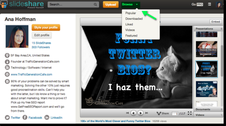 Slideshare browse feature