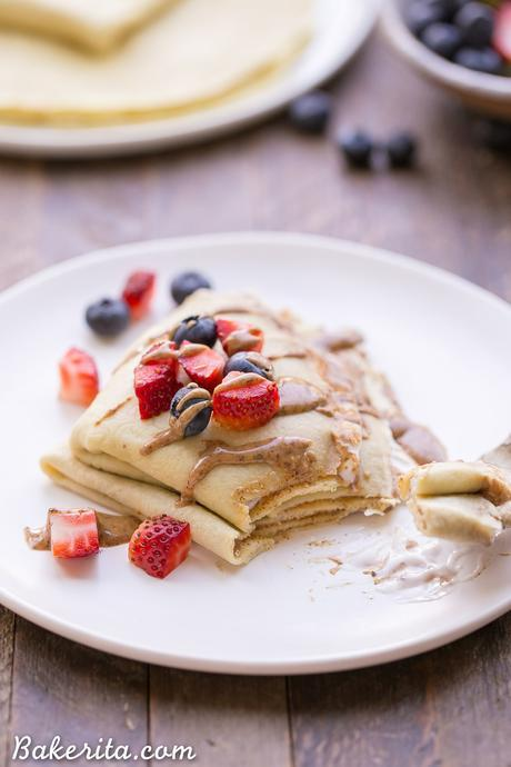 These Paleo Crepes can make any meal taste taste decadent, but they're made with healthy, clean ingredients. The batter is made in the blender in just a few minutes and they only take a minute or two to cook. You can fill them with any sweet or savory fillings you can think of! The possibilities are endless...