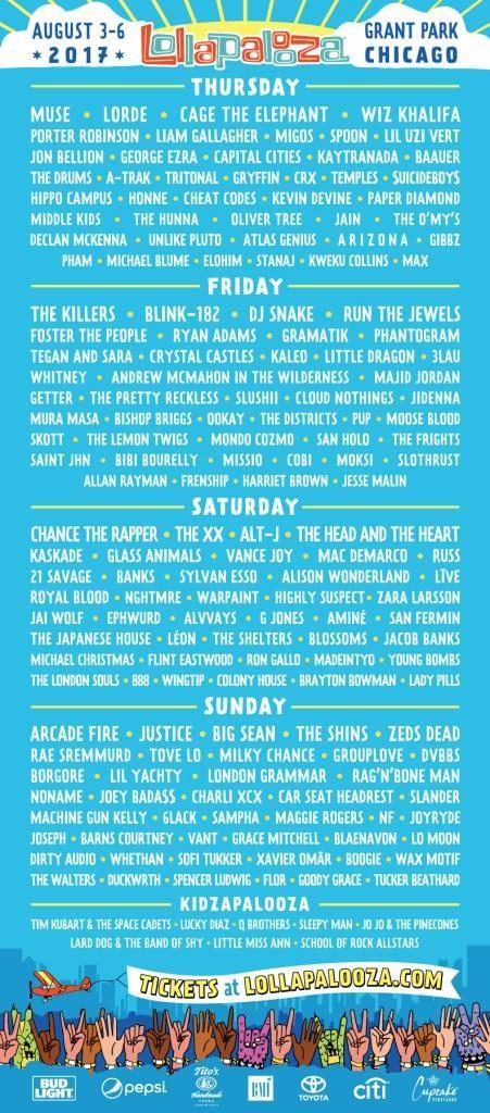 lollapalooza 2017 lineup