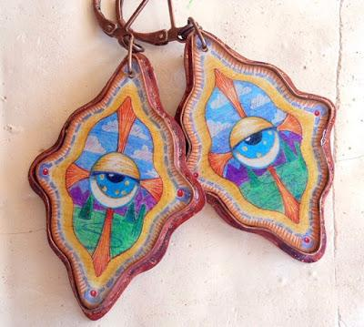 Copper with Resin Cosmic Eye Drawing Earrings Your omnisc...
