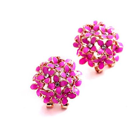 Pink Flowery Oversized Clipon Earring