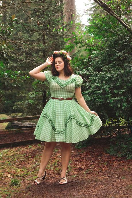 Vintage swing dress, flower crown, and Rago shapewear