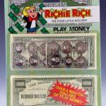 Richie Rich Play Money front view including backing card