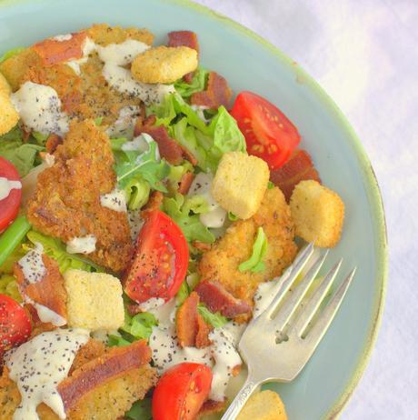 Fried Green Tomato BLT Salad with Homemade Ranch Dressing