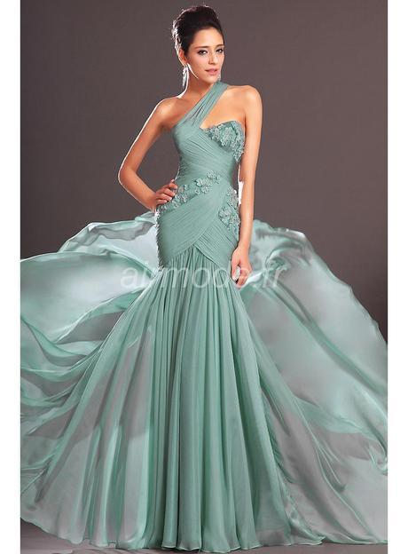 Chic Mermaid One Shoulder Applique Chiffon Evening Dresses Dresses