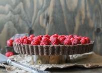 No Bake Raspberry Chocolate Tart (Paleo, GF + Vegan)
