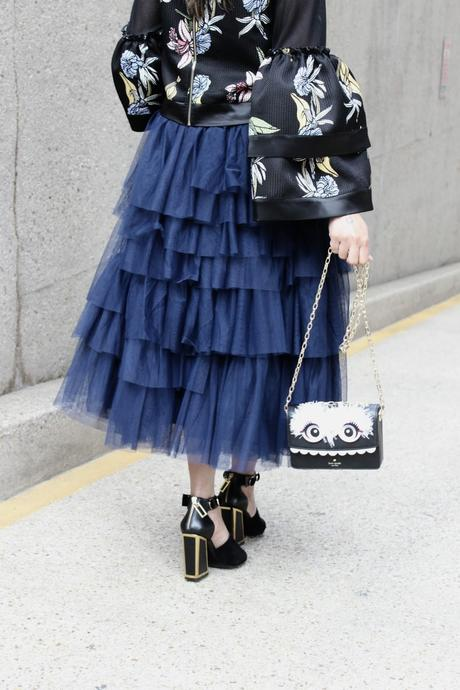 how to wear tiered ruffle sleeves, bell sleeves, tulle navy skirt outfit, kat maconie black sandals, NY designer mesh printed top, spring style, eveing look, party, style, street style, OOTD