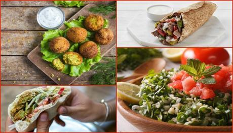 Collage of 4 healthy middle eastern foods