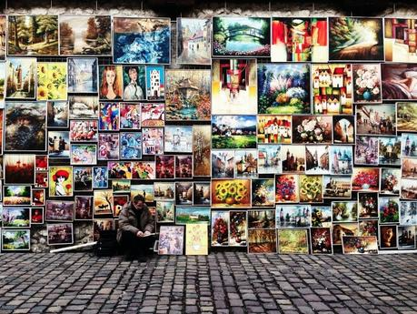 Street exhibition of paintings