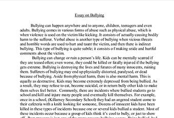Cyber bullying essay