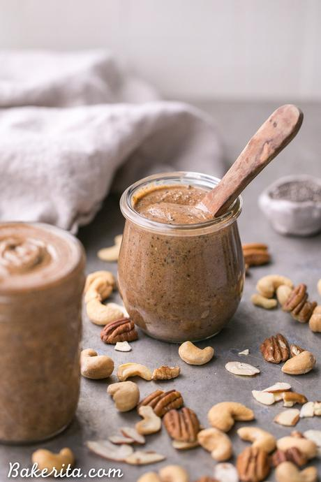 This Super Seed Nut Butter is made with a variety of nuts and seeds, creating a smooth and creamy spread that's super flavorful and loaded with nutrients. This delicious homemade nut + seed butter comes together quickly in a blender or food processor.