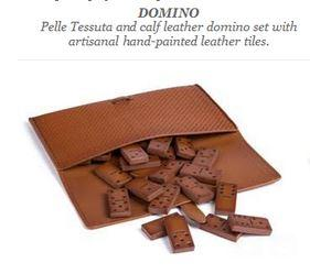 "Zegna ""Toys"" is a selection of leisure and entertainment travel games, which includes a domino set made of pelle tessuta"