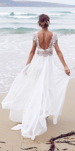 destination bridal dresses embellished bodice open back chifon skirt by anna campbell