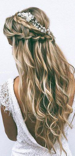 favorite wedding hairstyles for long hair braid waterfall