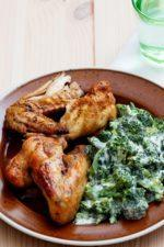 Baked Chicken Wings with Creamy Broccoli