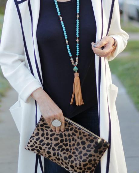 tassel necklace, leopard bag, French Kande ring