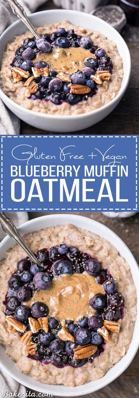 This simple Blueberry Muffin Oatmeal is sweetened with a banana, spiced with cinnamon and topped with an easy blueberry compote! Top with all your favorite toppings for a delicious, healthy + filling breakfast that is far from boring.