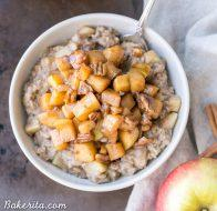 Apple Cinnamon Oatmeal with Caramelized Apples + Pecans