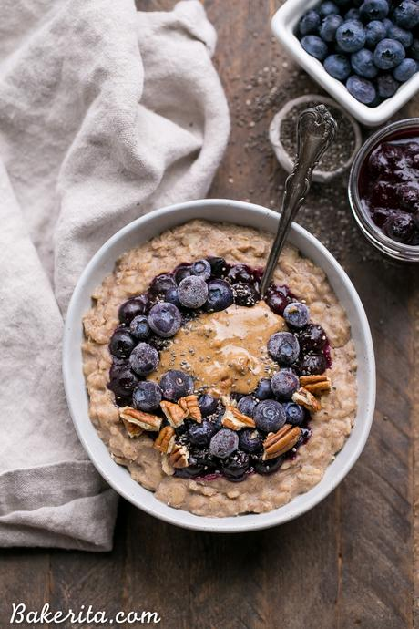 Blueberry Muffin Oatmeal (Gluten Free + Vegan)
