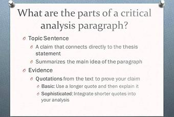 an analysis of the topic of the paragraphs