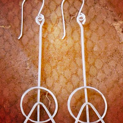 Peace Sign Silver Earrings Handmade peace sign earrings c...