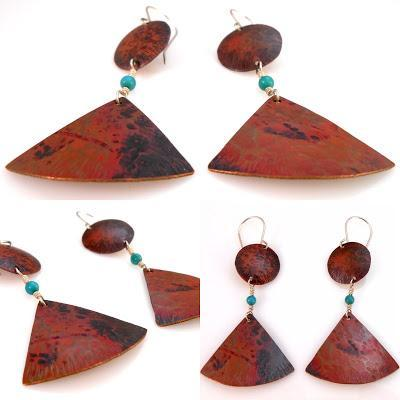 Heat Patina Copper and Turquoise Dangle Earrings Playing ...