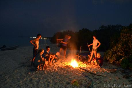 The teen bonfire, carefully spaced away from their parents