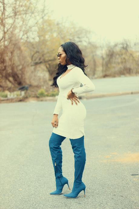 What I Wore: Denim Thigh High Boots
