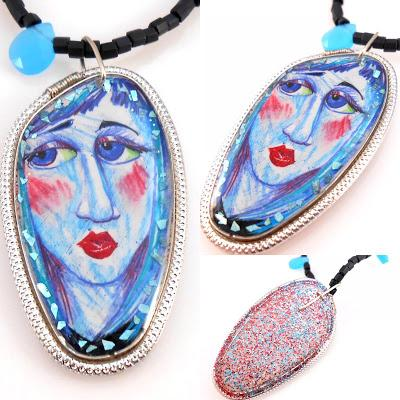 Blue Girl Face in Resin with Aluminum Wire and Beads Neck...