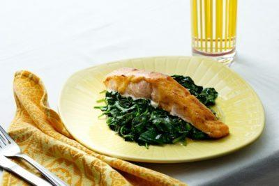 Chili-Covered Salmon with Spinach