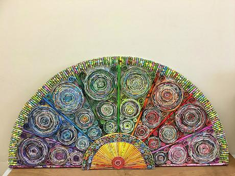 Abstract Paper Fan by Christine Donahue