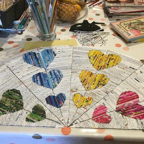 Paper Fan - Rolled Hearts Design