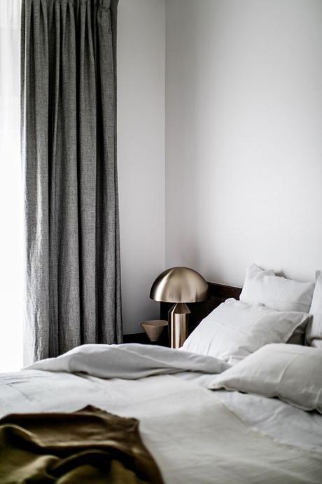 Parisian apartment bedroom. Photo by Benoit Linero for JeanCharles Tomas Interior Architecture via My Domaine