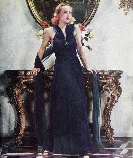 1936 Travis Banton evening dress worn by Carole Lombard
