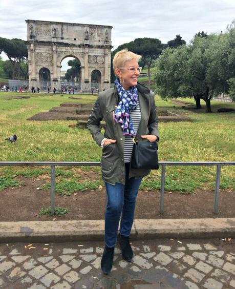 what I wore sightseeing in Rome on rainy day