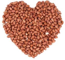 deshelled peanuts shaped as heart