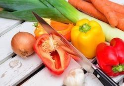vegetables cut by knife